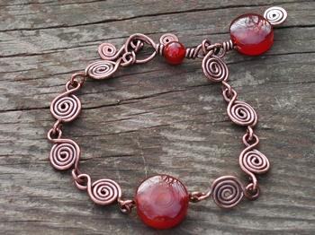 Carnelian Copper Spiral Bracelet
