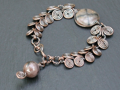 Copper and Cross Stone Egyptian Coil Bracelet