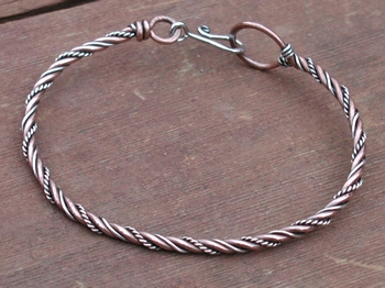 Copper Sterling Twisted Wire Bracelet