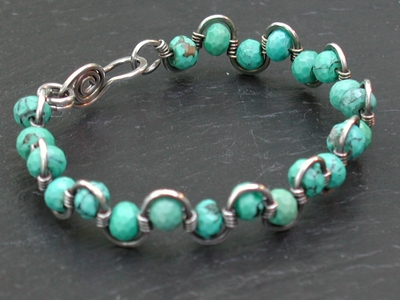 Sterling and Turquoise Waves Bracelet