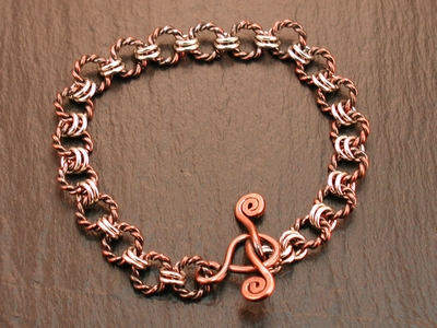Twisted Copper Rings Bracelet