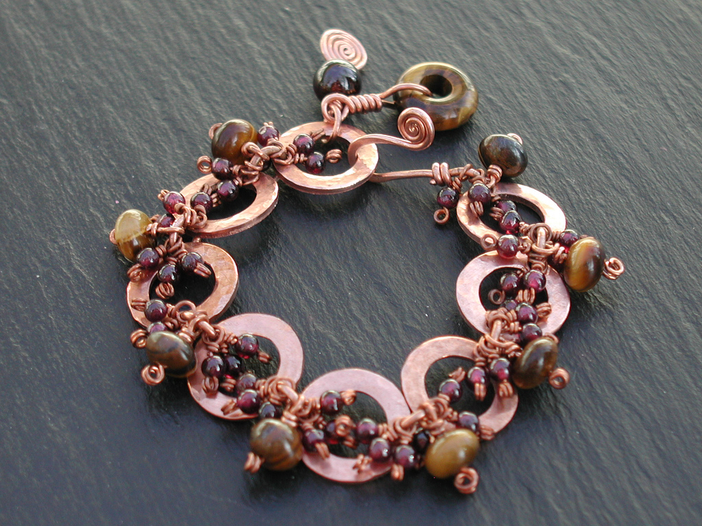Copper Bracelet with Garnet and Tiger Eye