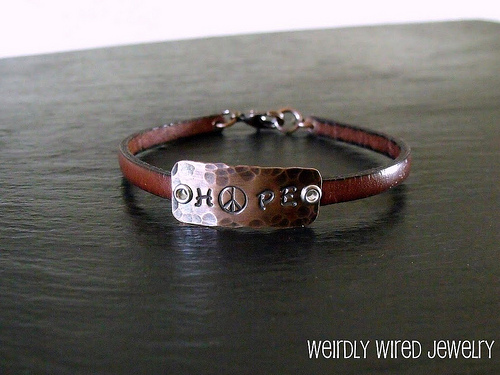 Single wrap leather copper stamped bracelet
