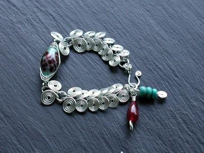 Sterling Egytian Coil Herringbone Bracelet