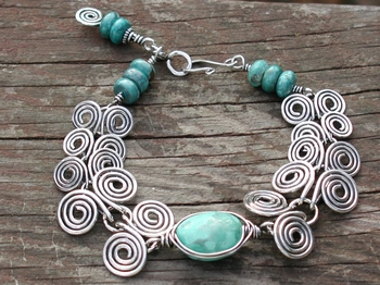 Sterling Egyptian Coil and Turquoise Bracelet
