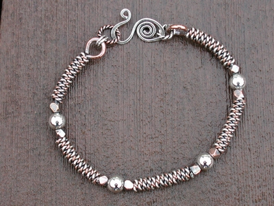 Sterling Copper Twist Ball Bracelet