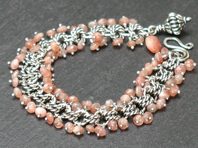 Sunstone and Twisted Rings Bracelet