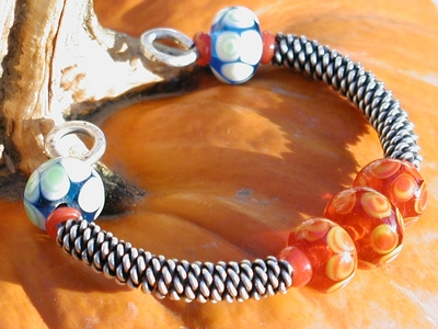 Twisted Coil and Lampwork Beads Bracelet