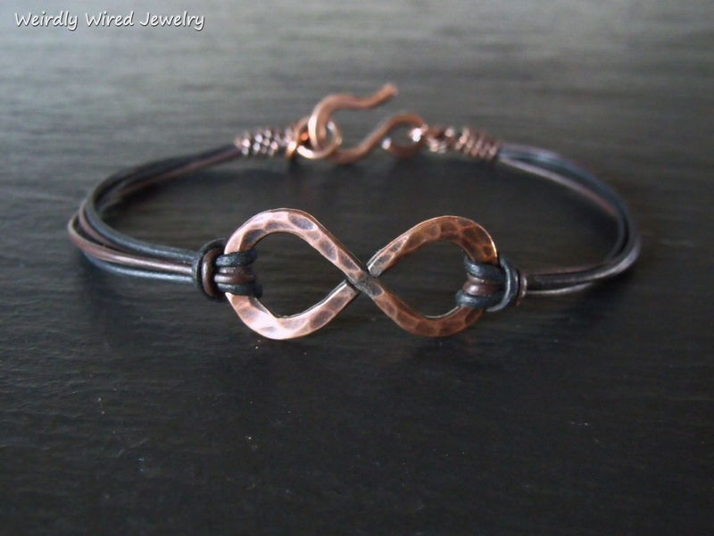 Copper Infinity Bracelet Thin Leather