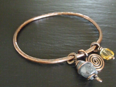 Bangle with Dangles-Kyanite and Citrine