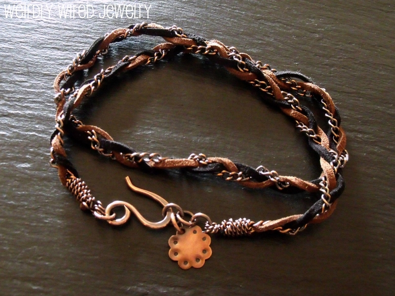 Brown, Black Suede and Copper Chain Wrap Bracelet