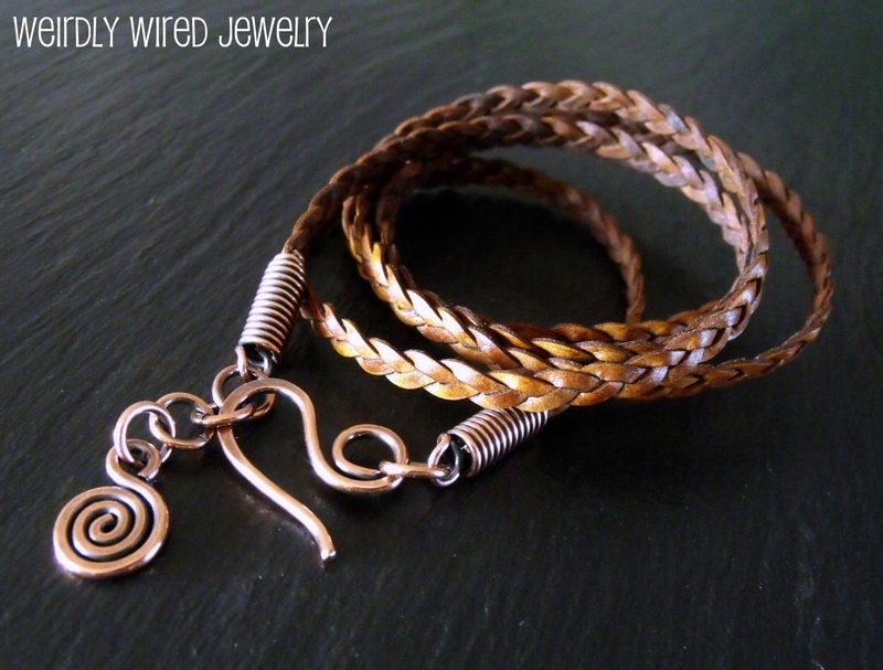 Tan Braided Leather Wrap Bracelet