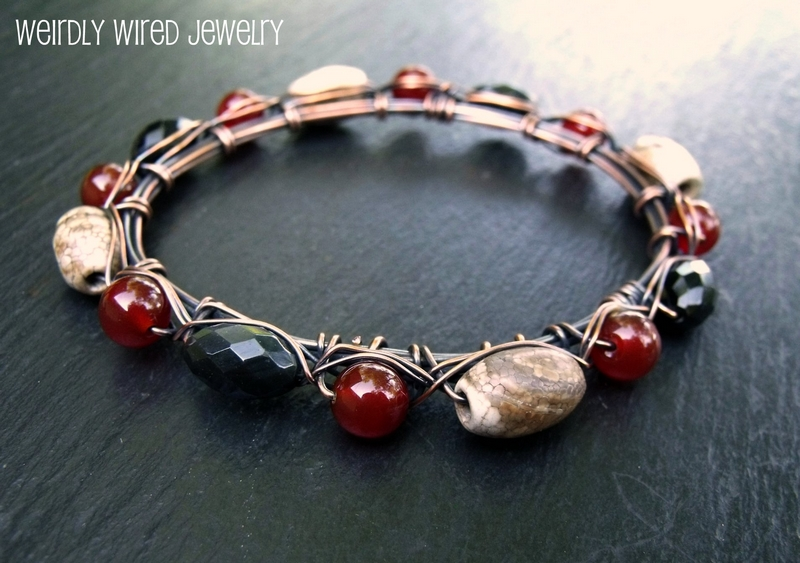 Carnelian, Agate and Obsidian Copper Bangle