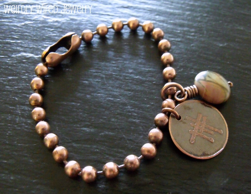 Copper Ball Chain Bracelet with Charms