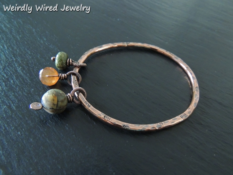 Copper Bangle - 3 Stone Dangles
