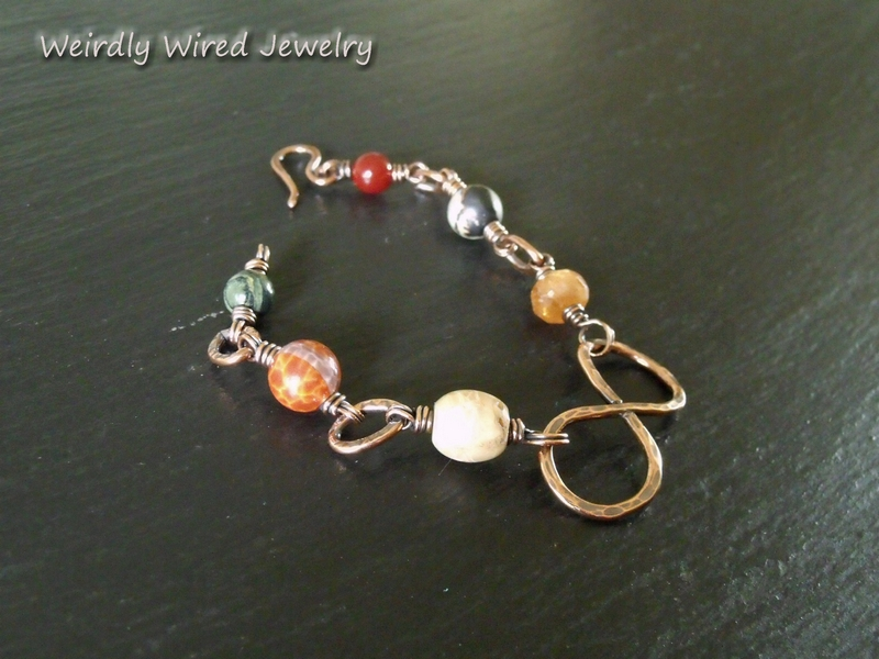 Mixed Gemstones and Copper Infinity Bracelet