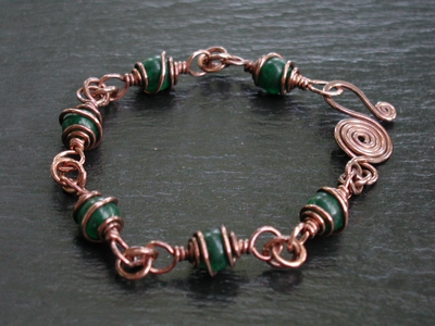 Copper and Jade Caged Bracelet