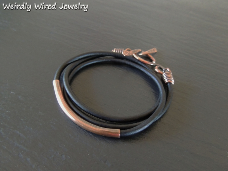 Copper Tube Leather Wrap Bracelet
