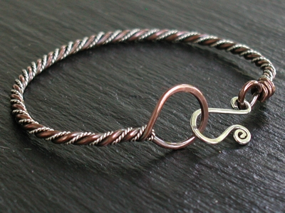 Copper and Twisted Sterling Bangle