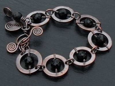 Copper Rings and Black Stone Bracelet