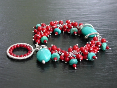Coral and Turquoise Bracelet