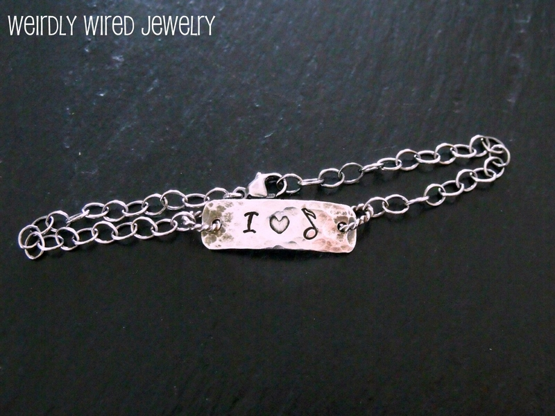 Stamped Message chain Bracelet