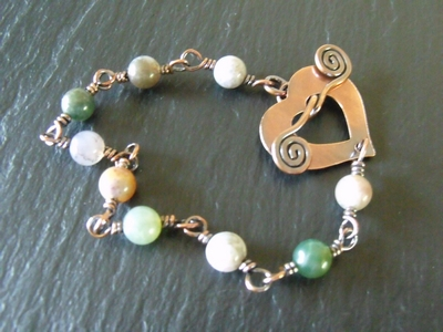 Fancy Jasper Copper Heart Bracelet