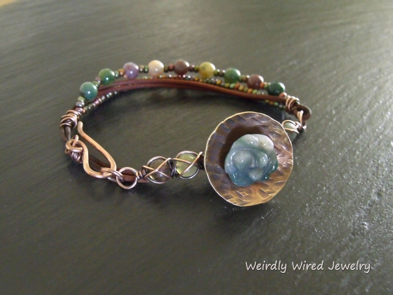Fancy Jasper Flower and Leather Bracelet