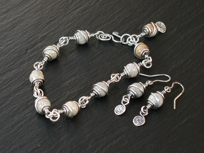 Fossalized Coral Wire Wrapped Bracelet