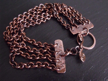 Four Strand Copper Chain Bracelet