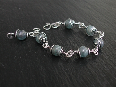 Kyanite and Sterling Silver Cage Bracelet