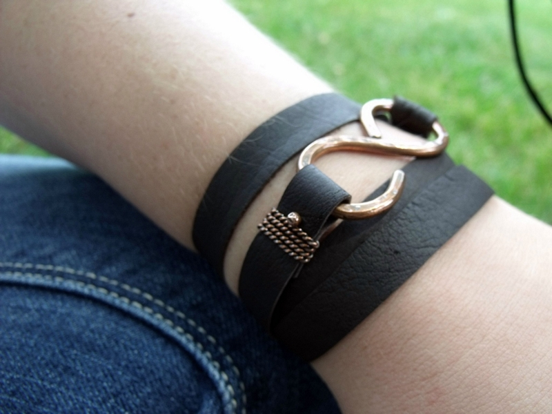 Leather Wrap Copper Bracelet