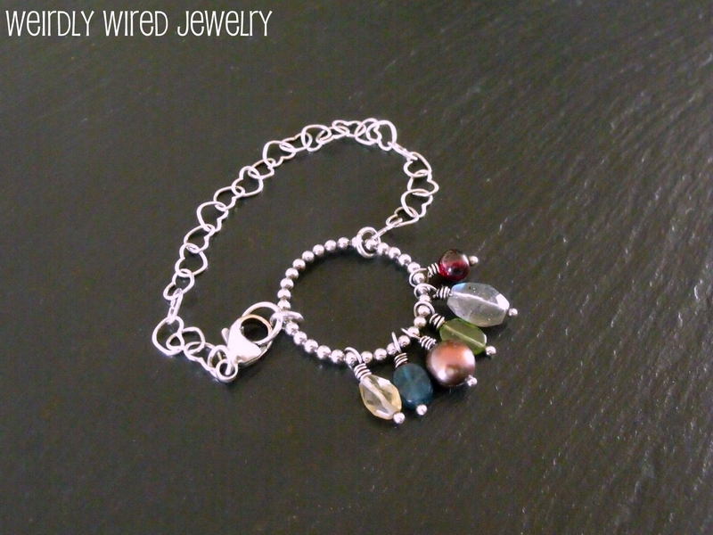 Mixed Gemstones Heart Chain Bracelet