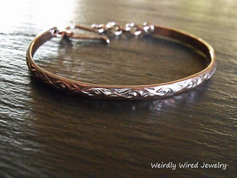 Patterned Copper Wire Bracelet