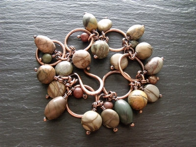 Picasso Jasper and Copper Hoops Bracelet