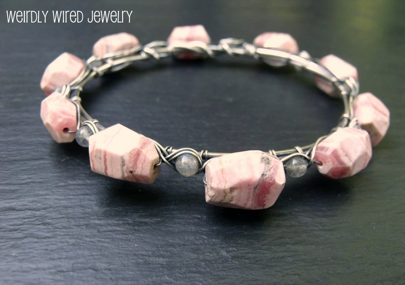 Rhodochrosite, Labradorite and Sterling Bangle