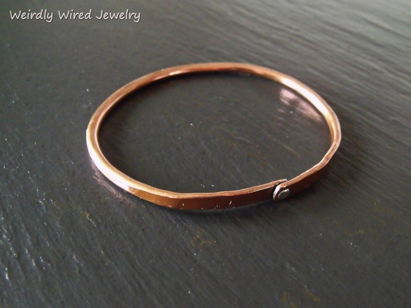Copper Bangle with SS Rivet