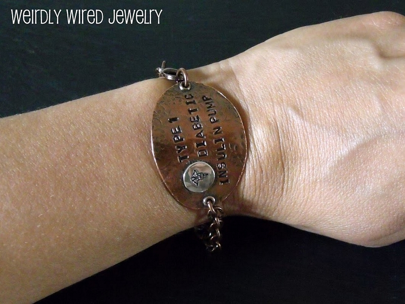 Stamped Medical Alert Bracelet Worn