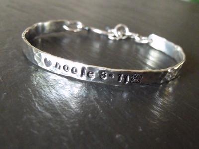 Stamped Sterling Cuff Bracelet-Sarah