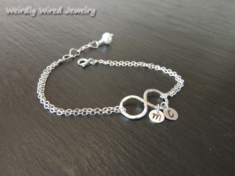 Stamped Infinity Bracelet with Pearl
