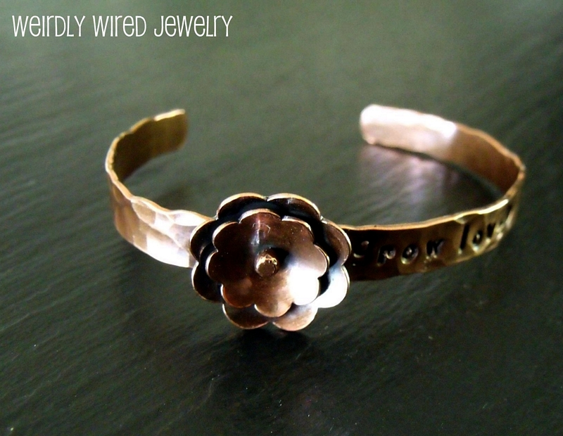 Flowered Copper Cuff