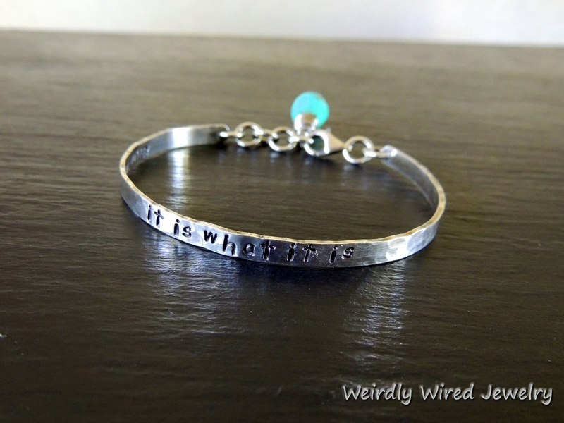 Stamped Sterling Cuff-Turquoise-BP