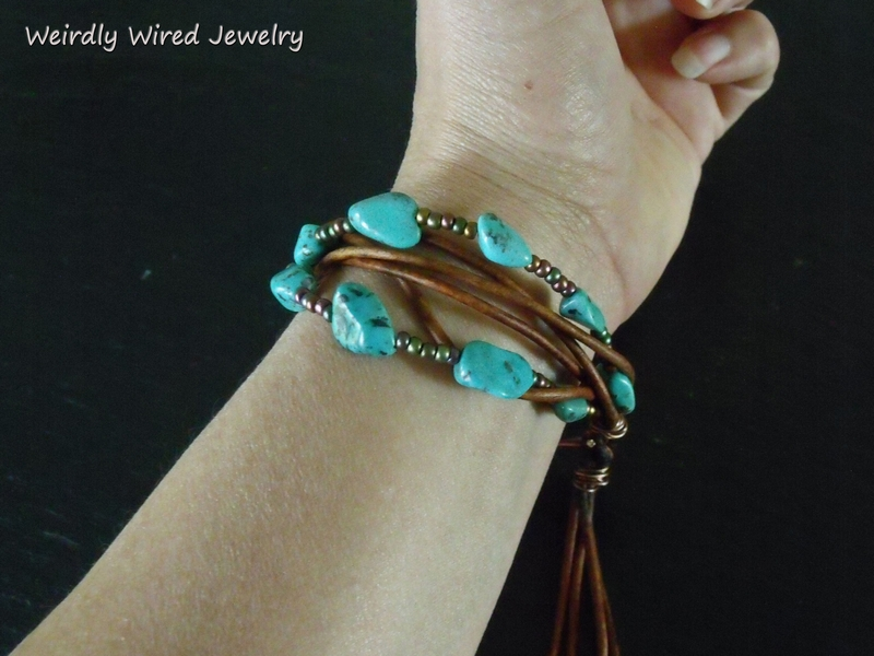 Turquoise Wood and Leather Bracelet