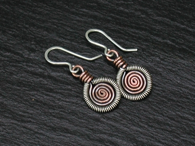 Copper Spiral Silver Coil Earrings