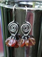 Hessonite Spiral Earrings