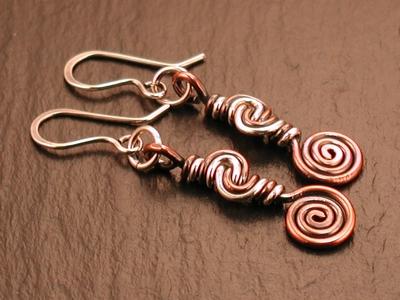 Mixed Metal Swirl Earrings