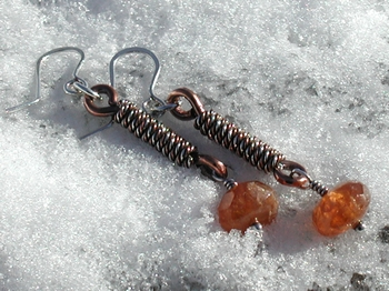 Orange Garnet Mixed Metal Earrings