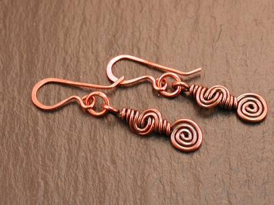 Copper Spiral Swirl Earrings