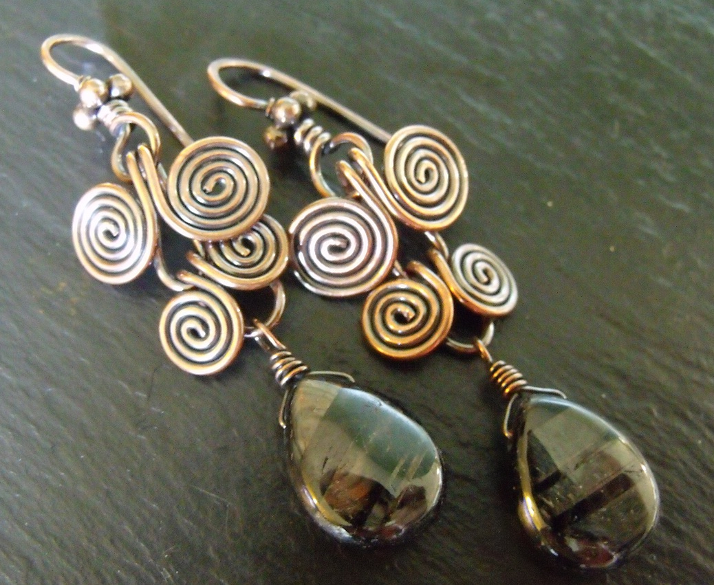 Copper and Hypersthene Egyptian Earrings
