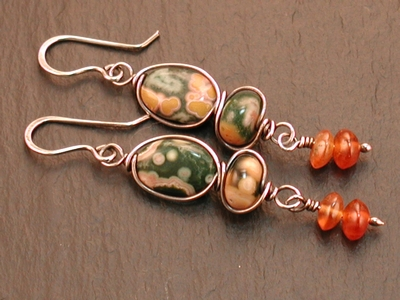 Ocean Jasper and Hessonite Earrings